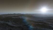 Realistic Surface Of An Alien Planet, View From The Surface Of An Exo-planet 3d Illustration
