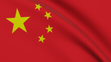 Flag Of China. Close-up Of A Flag Flying In The Wind. 3D Rendering