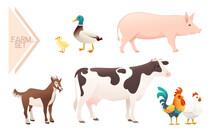 Set Of Domestic Farm Animals Vector Illustration On White Background
