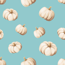 Vector Autumn Seamless Pattern With White Pumpkins On A Blue Background.