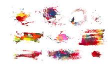 Set Of Multi-colored Blots Of Paint. Multi Color Blots Background. Grunge Texture Stroke Line. Art Ink Dirty Design. Paintbrush Element. Brushstroke Graphic. Vector Illustration