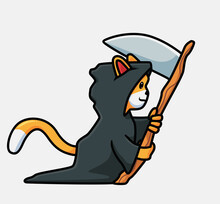 Cute Cat Grim Reaper. Isolated Cartoon Animal Halloween Illustration. Flat Style Suitable For Sticker Icon Design Premium Logo Vector. Mascot Character