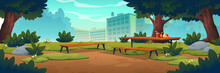 City Park With Wooden Picnic Table And Benches, Green Trees, Grass With Flowers And Town Buildings On Skyline. Vector Cartoon Summer Landscape Of Empty Public Garden With Food And Drink On Table