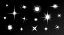 Star Shine Effects, Flash Lights With Sparkles And Glow Rays Isolated On Transparent Background. Vector Realistic Set Of Bright Glare, White Flare With Shiny Beams