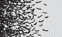 Black Silhouette Of Flying Bats Flock Isolated On Transparent Background.