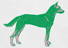 Green Dog Vector Vintage Painting Clipart