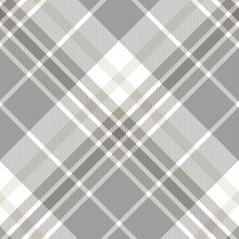 Seamless Plaid Check Pattern In Gray, White And Brown.