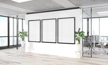 Three Vertical Frames Mockup Hanging On Wall. Mock Up Of Billboards In Modern Wooden Office Interior 3D Rendering