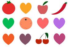 Set Of Red Green And Orange Hearts Icons Of Fruits Illustration Logo Vector Web Design Art Symbol Cartoon Sign