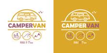 Campervan - Vector Illustration - Van - Vanlife - Wild And Free - Colors