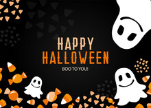 Cute Gost Happy Halloween Orange And Black Modern Vector Design With Traditional Greeting. Colorful Clipart Of Sweet Treats And Candy Corn Images Arranged As Bottom Border On Dark Background For Party