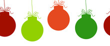 Christmas Ornaments Seamless Vector Border. Repeating Banner Pattern Background With Hanging Christmas Bauble Garland Silhouette Red Green. For Holiday Greeting Card Decor, Letterhead, Banner, Fabric