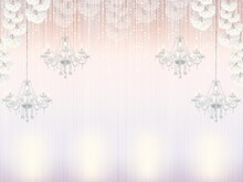 Beautiful Wedding Background. Birthday Background. Background For Wedding Decoration. Background With Crystal Chandeliers And Candles. Delicate Lilac Background.