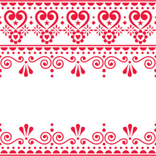 Scandinavian Vector Greeting Card Or Textle, Fabric Print Design - Traditional Seamless Embroidery Folk Art Style Design With Flowers And Swirls