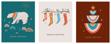 Merry Christmas Boho, Bohemian Collection. Vector Trendy Xmas Design And Illustration. Rainbows, Decorations And Nordic Winter Elements