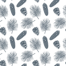 Pine Cones, Pine Branches And Fir Cones Seamless Pattern. Christmas Hand Drawn Background. Vector Engraving Illustration