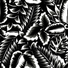 Fashionable Black And White Tropical Seamless Pattern Plants With Palm Leaf, Monstera And Banana Leaves On Night Background. Decorative Vector Design. Jungle Print. Exotic Summer
