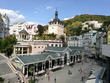 Aerial View Of The Market Colonnade (Tržní Kolonáda) In The Old Town Of Karlovy Vary, Czech Republic
