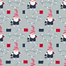 Seamless Pattern With Christmas Gnome. Festive Print For Packaging, Covers, Paper Products, Printable, Stationery, Wrapping Paper And So Much More. Vector Illustration.