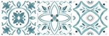 Set Of Watercolor Illustrations - Ceramic Tile Stylization With Blue Ornaments. Azulejos Portugal, Turkish Ornament, Moroccan Tile Mosaic, Talavera Ornament.