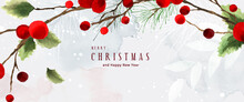 Christmas Decoration Holly Leaves And Branches Watercolor Background