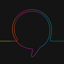 One Line Drawing Of Round Speech Bubble, Rainbow Colors On Black Background Vector Minimalistic Linear Illustration Made Of Continuous Line