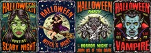 Halloween Night Colorful Posters Set