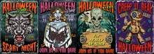 Halloween Night Vintage Colorful Posters