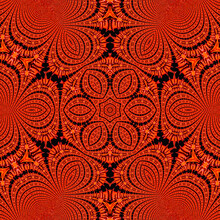 Solid Floral Pattern - Kaleidoscope Of Red Flower On Black Background