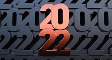 Happy New Year 2022. 3D Render Of Bronze 2022 Year On Black Numeric Background