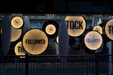 Neon Clocks With Fallowed End  Tick Tock Words Background