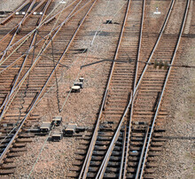 Railway Rails On Wooden Sleepers For The Movement Of Railway Transport. View From Above.
