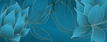 Art Background With Lotus Flowers In Turquoise Colors For Social Media Banner Design And Packaging.