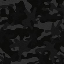 Vector Black Seamless Camouflage Pattern, 3d Print Illustration. Night Pattern.