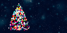 Christmas  Greeting Card With Christmas Tree Made Of Colorful Blurred Lights