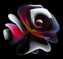 3d Render Of Abstract Art With Surreal Alien Flower In Curve Wavy Elegance Organic Biological Lines Forms In Transparent Plastic Material In Pink Purple And Yellow Gradient Color With White Parts