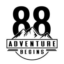 88 Adventure Begins, 88th Birthday Eighty Eight Birthday, Birthday Party Logo Sign