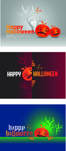 Happy Halloween, Set Pumpkin On Colorful Background. The Main Symbol Of The Happy Halloween Holiday. Orange Pumpkin With Smile For Your Design For The Holiday Halloween. Vector Illustration.