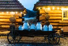 Vintage Milk Churns On Railway Platform