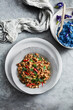 canvas print picture - Overhead view of Pad Gaprao, tuna basil stir fry
