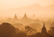 Myanmar, Bagan, View Of Temples In Morning Mist