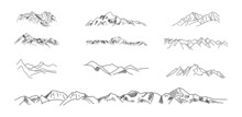 Mountain Drawing. Big Vector Set Of Sketch, Hand Drawn Snowy Mountain Peaks Set Collection. Vector.
