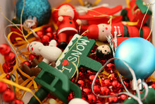 New Year's Toys Lie In Chaos For The Background, Holiday, New Year's Festive Mood