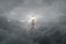 3d Rendering Of An Illuminated Lighthouse Over Fluffy Darken Clouds