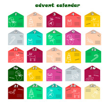Advent Calendar For Christmas. Postal Envelopes With The Attributes Of The Holiday - A Snowman, Sledges And Gifts, A Deer. Vector Illustration. For Use In Children Parties, Shops, Gifts.