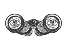 Binoculars With Eyes Sketch Engraving Vector Illustration. T-shirt Apparel Print Design. Scratch Board Imitation. Black And White Hand Drawn Image.