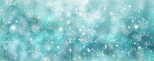 Luxury Snowflakes And Sparkles On Blue Green Background- Winter Background Panorama Banner Long