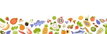 Healthy Food Border. Banner With Grocery Edge. Horizontal Pattern With Fresh Organic Fruits, Vegetables And Seafood. Vitamin Foodstuff. Colored Flat Vector Illustration Isolated On White Background