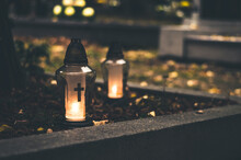 All Saints Day Concept,funeral Concept With Burning Candles