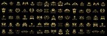 Royal Logo Set - Isolated On Black Background - Vector Illustration, Graphic Design.